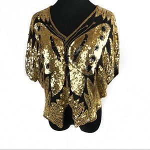 Vintage sequins butterfly top shirt